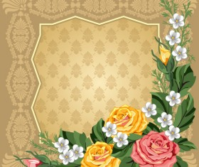 Flowers with retro frame vectors