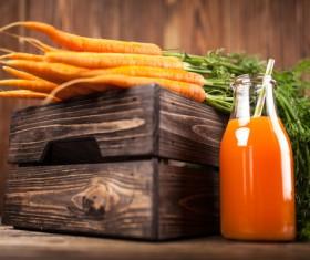 Fresh carrots and carrots juice Stock Photo 02