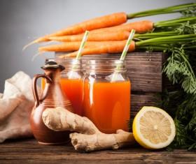 Fresh carrots and carrots juice Stock Photo 03