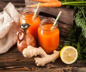 Fresh carrots and carrots juice Stock Photo 04