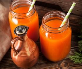 Fresh carrots and carrots juice Stock Photo 06