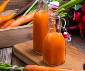 Fresh carrots and carrots juice Stock Photo 07
