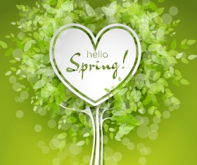 Fresh spring background with heart shape vector 01