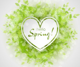 Fresh spring background with heart shape vector 02
