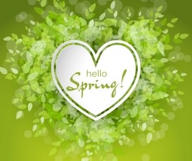 Fresh spring background with heart shape vector 03
