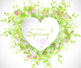 Fresh spring background with heart shape vector 04