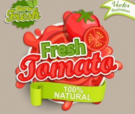 Fresh tomato label vector