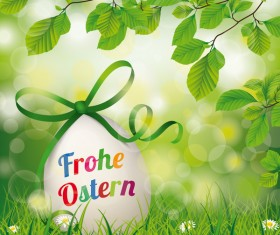 Frohe Ostern Easter Egg Beech Twigs Flowers vector
