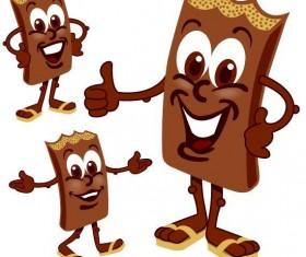 Funny cartoon chocolate design vector 02