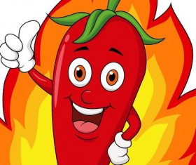 Funny cartoon pepper with fire vector 01