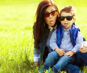 Funny photo of young mother and child Stock Photo