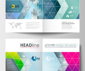Geometric shape cover template magazine with flyer vector 01