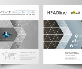 Geometric shape cover template magazine with flyer vector 02