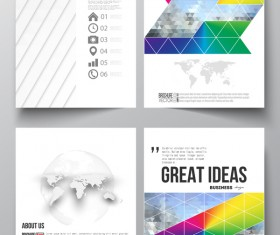 Geometric shape cover template magazine with flyer vector 03