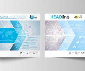 Geometric shape cover template magazine with flyer vector 05