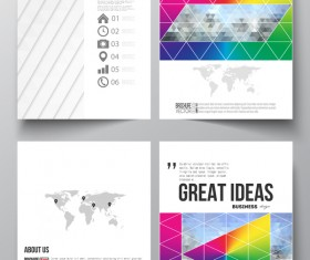 Geometric shape cover template magazine with flyer vector 07