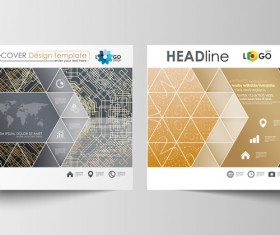 Geometric shape cover template magazine with flyer vector 09