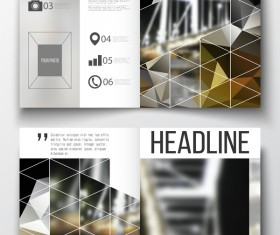 Geometric shape cover template magazine with flyer vector 10