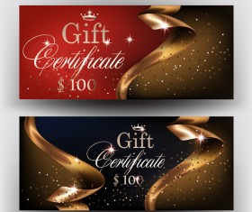 Gift certificates with gold ribbons vector illustration