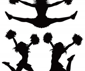 Girl cheerleader silhouette vector set 01