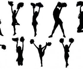 Girl cheerleader silhouette vector set 02
