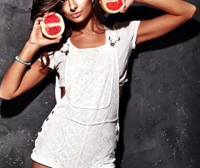 Girl holding fruit Stock Photo 01