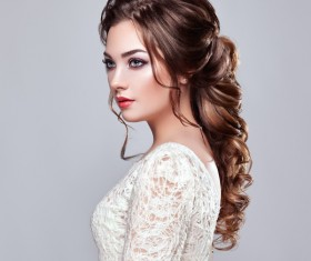 Girl with elegant and shiny hairstyle Stock Photo 02