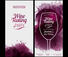 Glass background wine red stains invitation party vector