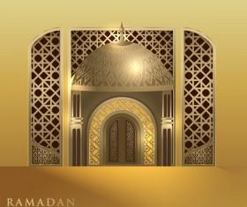 Golden Islamic ramadhan backgrounds vector