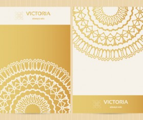 Golden decorative floral ornate vectors 03