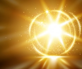 Golden light effect with abstract background vector