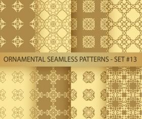 Golden ornament seamless pattern vector 03