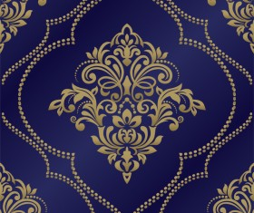 Golden pattern decor with blue background vector