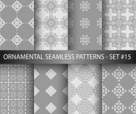 Gray white ornament seamless pattern vector 01