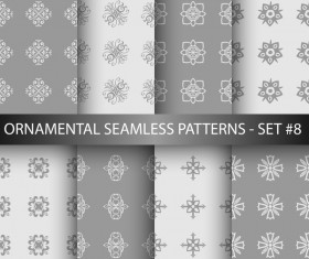 Gray white ornament seamless pattern vector 02