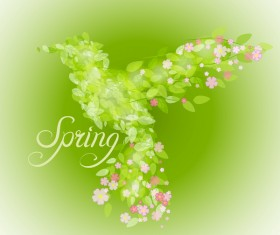 Green leaves with flower and birds spring vector 01