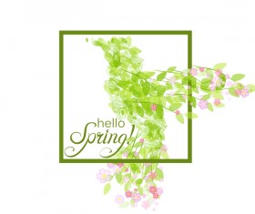 Green leaves with flower and birds spring vector 03