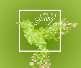 Green leaves with flower and birds spring vector 04