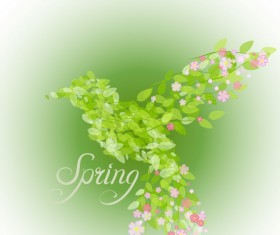 Green leaves with flower and birds spring vector 05