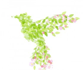 Green leaves with flower and birds spring vector 06