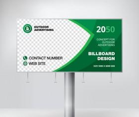 Green outdoor advertising billboard template vector