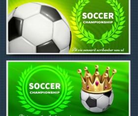 Green soccer banner template vector