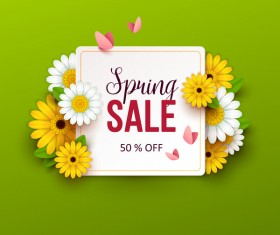Green spring sale background with flower vector