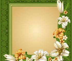 Green vintage frame with flower decor vector
