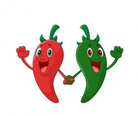 Green with red cartoon pepper vector