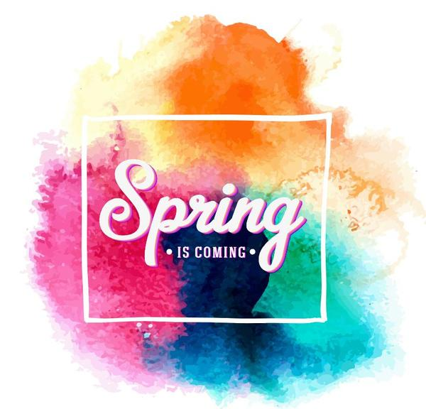 Grunge watercolor spring background vector