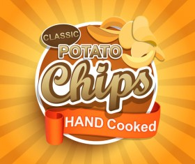 Hand cooked potato chips label vector