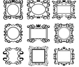 Hand drawn decor retro frame vector