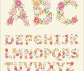 Hand drawn flower alphabet vector
