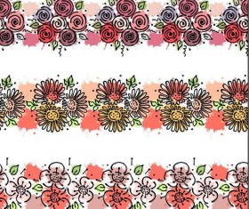 Hand drawn flower border vectors